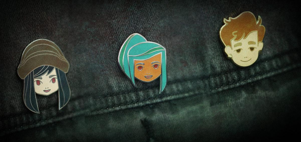 Oxenfree merch pins of Alex, Nona, and Ren